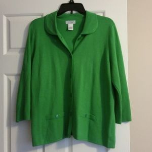 Kim Rogers Signature Button Up Sweater-L-Green